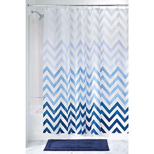 duschvorhang vinyl InterDesign 37380EU Ombre Chevron PVC-Freier Hochwertiger Peva-Duschvorhang aus Peva, blautöne, Vinyl, blau Multi, 183 x 0,254 x 183 cm