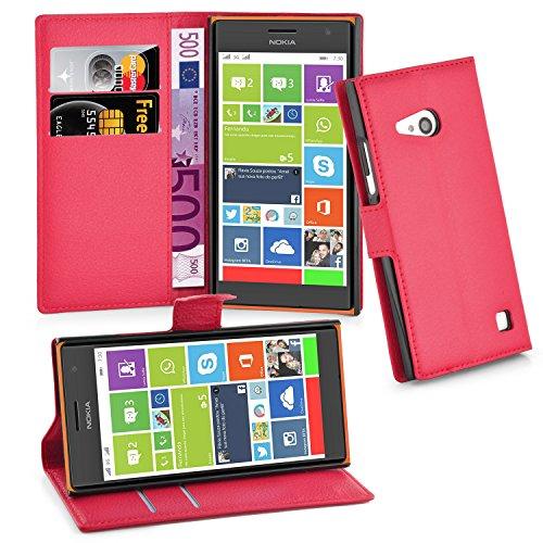 Cadorabo Hülle für Nokia Lumia 730 Hülle in Karmin Rot Handyhülle mit Kartenfach & Standfunktion Case Cover Schutzhülle Etui Tasche Book Klapp Style Karmin-Rot