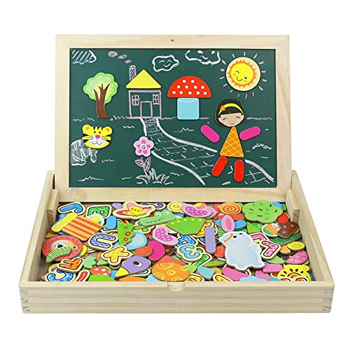 Giocattoli in Legno Puzzle Magnetica Lavagna Giochi Creativi Costruzioni Gioco da Tavolo per Bambini 3 4 5 6 Anni