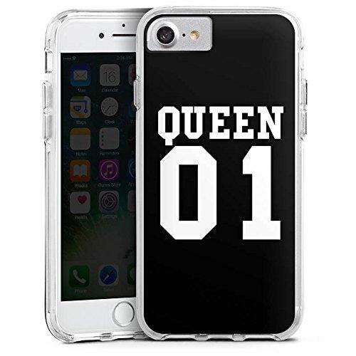 Apple iPhone 7 Bumper Hülle Bumper Case Glitzer Hülle Queen 01 Koenigin Paerchen Bumper Case transparent
