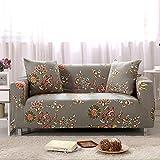 LINGJUN Sofabezug Abdeckung Blumendruck fuer 1 2 3 4 Sitzer Stretch Elastic Cover Slipcover Sofa Couch Möbel Schutz Fit Haushalt Dekor (3 Sitzer, Eleganz)