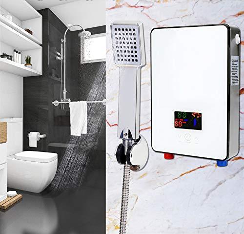6500W 0.6Mpa Chauffe-eau Instantané Electrique Thermostat avec Douchette à Main et Tuyau (Blanc)