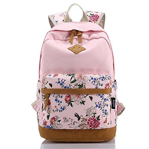 Ambielly Estilo mochilas escolares espesado bolsa de mano hombro del ordenador portátil Mochila bolso causal mochila escolar (Flores rosadas)