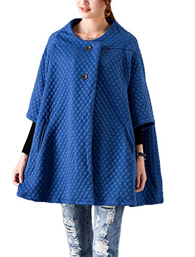 MatchLife Damen 3/4-Arm Parka One Button Cardigan Mantel Blau L
