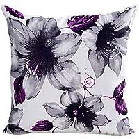 WayGo Funda de cojín, estampado de flores, para sofá y cama, color morado