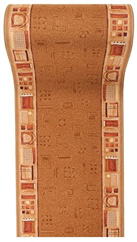 """Läufer Teppich Flur - Modern Muster - Rückseite aus Gummi Anti-Rutsch - Kurzfloor Teppichläufer nach Maß - \"""" GEL-MAX \"""" Kollektion Hell Beige 100 x 300 cm"""