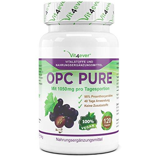 OPC Pure, 1050mg pro Tagesodosierung, 120 vegane Kapseln mit jeweils 350mg Traubenkernextrakt, keine Zusatzstoffe, hochdosiert mit 330mg OPC Gehalt pro Kapsel, 40 Tage Anwendung, Antioxidantien, Vit4ever