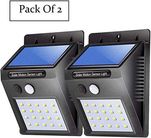 Bigsavings. Motion Sensor 20 LED Solar Light, Outdoor Weatherproof for Driveway Garden Path Yard- Pack of 2