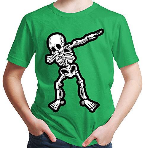 HARIZ  Jungen T-Shirt Dab Skelett Dab Teenager Trend Halloween Plus Geschenkkarten Grün 140/9-11 Jahre