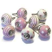 Set di 8tradizionale rosa in ceramica armadio porta manopole