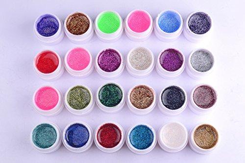 Neverland 24Pcs Glitter Mix Color Gel UV polonais Acrylique Set pour Nail Art Conseils bricolage