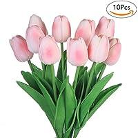 [Sponsorizzato]Fiori artificiali finti, tulipani in lattice, decorazione fai da te per matrimonio, stanza d'albergo, ecc., Pink, 10 pezzi