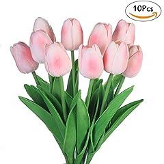 Idea Regalo - Fiori artificiali finti, tulipani in lattice, decorazione fai da te per matrimonio, stanza d'albergo, ecc., Pink, 10 pezzi