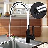 AURALUM® Grifo de la Cocina con Mango Negro para la Forma C Grifo de Lavabo de Alta Rotación Rango 360 ° Válvula Chrome con 'Agua Caliente y Fría