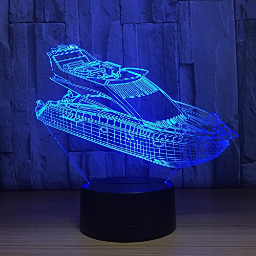 Boat Ship 3D Optical Illusion Lamp 7 Colors Change and 15 Keys Remote Control LED Table Desk Lamp for Home Bedroom Decoration (Yacht-caps)