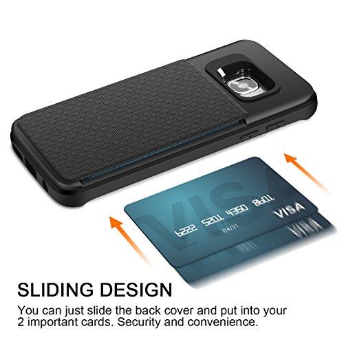 iPhone 6S Plus Cover,Coolden® Nero [Assorbimento-Urto] Hybrid Case Protettiva Soft TPU Back Bumper Portafoglio Custodia Cover per iPhone 6S Plus/6 Plus(5.5 Pollici) con carte di credito slot Nero