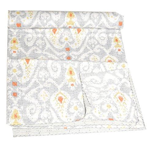 Indian Weiß Ikat Print Kantha Handmade Quilt Überwurf Home Decor Bettwäsche Tagesdecke Gudri Indian Kantha Quilt Kantha Decke, bed Dekorative Baumwolle Raill Gudri (weiß