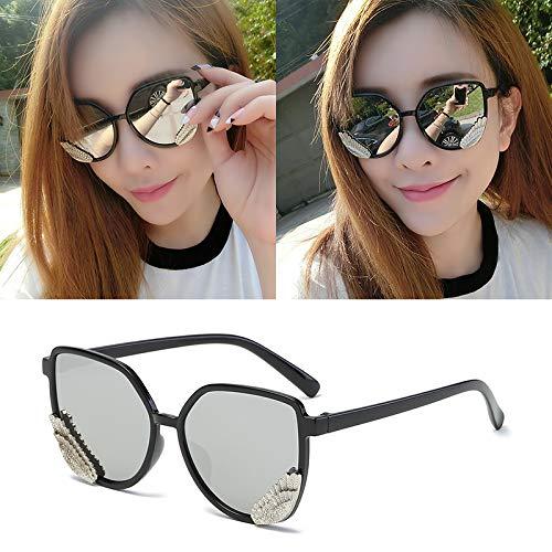 Occhiali da sole occhiali da sole ladies donna cappuccio di usura oversize occhiali classici designer occhiali da sole stile di moda telaio nero foglio di mercurio (panno sacchetto)