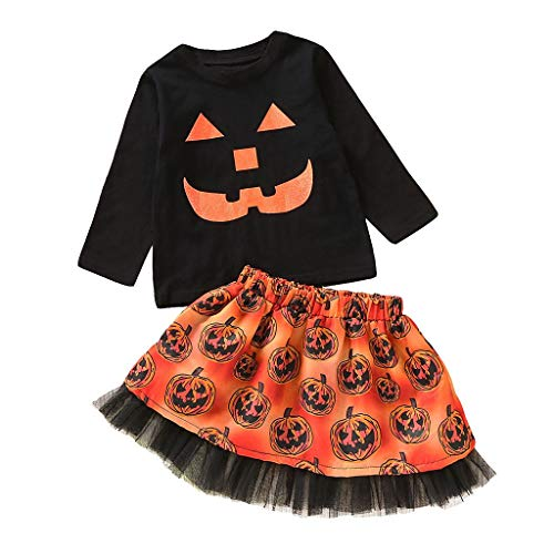 VRTYOC Magliette per Bambini con Stampa di Cartoni Animati Halloween per Bambine+Completi di gonne di Zucca Halloween Vestiti Ragazza Tops Pullover Manica Lunga Nero 80
