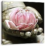 Lotus auf der Hand eines Buddhas, Format: 60x60 auf Leinwand, XXL riesige Bilder fertig gerahmt mit Keilrahmen, Kunstdruck auf Wandbild mit Rahmen, günstiger als Gemälde oder Ölbild, kein Poster oder Plakat