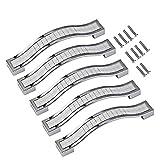 Psmgoods®, maniglie per cassetti e sportelli in stile europeo, in lega di zinco e strass di cristallo per armadio, credenza, mobili da cucina, Silver, 96MM-5PCS