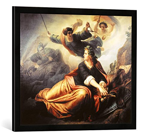 hristian Köhler Erwachende Germania, Kunstdruck im hochwertigen handgefertigten Bilder-Rahmen, 70x50 cm, Schwarz matt ()