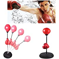 Saco de Boxeo Saco de Suelo para Práctica de Boxeo con Aguantes para Adultos con Soporte Ajustable de 120-150cm con Accesorios, inclinación hasta 90º, Color Rojo