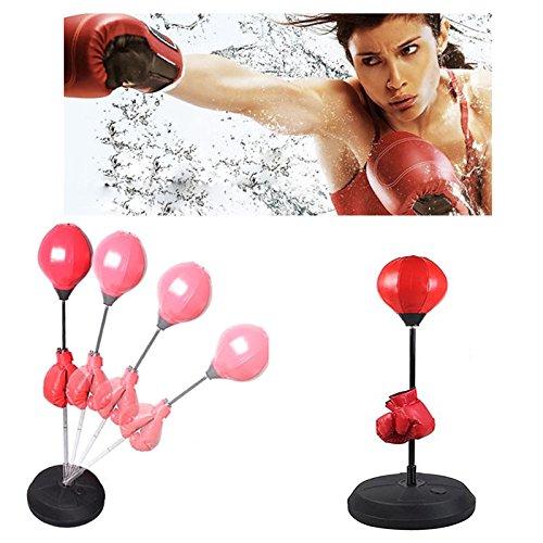 Saco de Boxeo Saco de Suelo para Práctica de Boxeo con Aguantes para Adultos con Soporte Ajustable...
