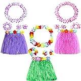 Yojoloin 15 Stücke Hawaiian Leis Luau Blumen Mit 6 Armbänder 3 Stirnbänder und 3 Halsketten 3 Röcke Für Luau Hawaiian Party Dekorationen Liefert Photo Booth Requisiten. (15 STÜCKE)