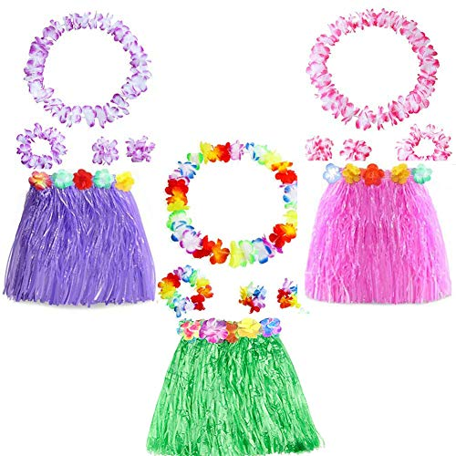 Yojoloin 15 Piezas Hawaianas Leis Luau Flores con 6 Pulseras 3 Diademas y 3 Collares 3 Faldas para Luau Hawaiian Party Decoraciones Suministros Photo Booth Props. (15PCS)