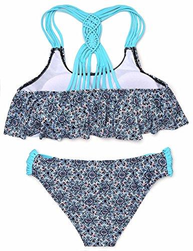ADOME Damen Badeanzug Bikini set Push up tankini 2tlg Gepunkt Neckholder Tops Bikinislip Schwarz/Blau/Weiß/Grün retro S-XL Eisblau