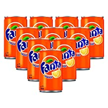 Fanta Orange Carbonated Soft Drink,  Cans - 150ml (Pack of 10)