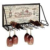 Racks Y botelleros de Vino Estante del Vino Arte del Hierro Estante de la Pared Estilo Retro Decoración de la Barra Café Colgante de Pared Estante de exhibición del Vino botelleros para Vino