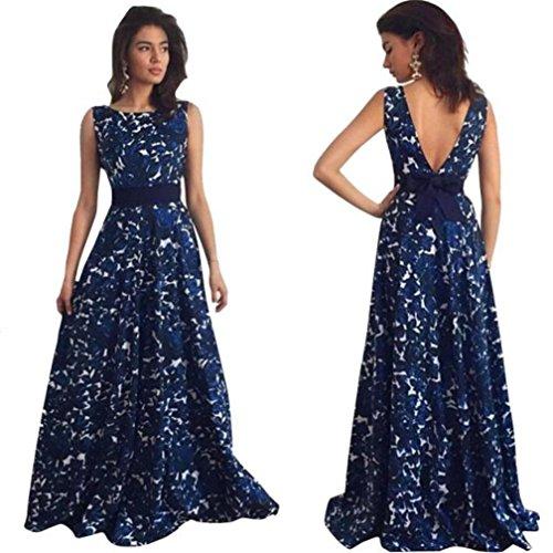 Damen Kleid, Btruely Blumen Lange Formell Abschlussball Kleid Hochzeit Kleid (L, Blau) (Hochzeit Kleid Stock Länge)