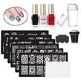 AOLVO Kit di timbratura per Unghie artistiche 6 Pezzi Immagine di Piastre per...