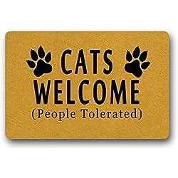 """eureya gatos Welcome Felpudo para puerta alfombrilla entrada Felpudo Área Alfombra hogar decorativo alfombrilla se puede lavar a máquina. 23.6x15.7""""-perfet regalo"""