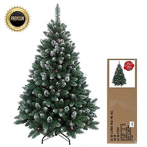 RS Trade® 180 cm ca. 1095 Spitzen, Exklusiver dekorierter künstlicher Weihnachtsbaum mit Metallständer, beschneiten Spitzen und Tannenzapfen Deko, Farbe Natur-Schnee HXT