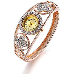 Oven Moda Women's Bangle Crystal Flower Bracelet Quartz Watch Wristwatch Ladies Wedding Jewellery Perimeter:20.5cm