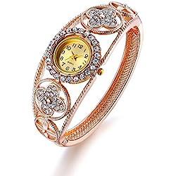 Oven Moda Women's Bangle Crystal Flower Bracelet Quartz Watch Wristwatch Ladies Wedding Jewellery Perimeter:20.5cm