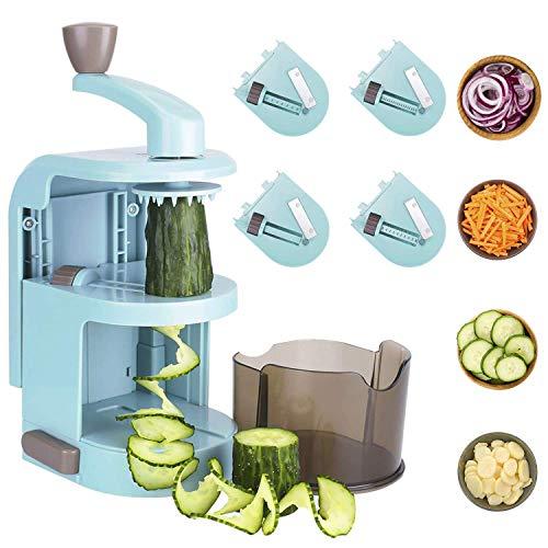 L.SMX 4-in-1-mandolinen Gemüse Cutter, Spiralgemüseschneider / -Schneider Mit Behälter, Am Besten Für Salat, Zucchini-Nudeln, Pasta, Kohlenhydratarme - Und Gemüse Dampfer Nudeln