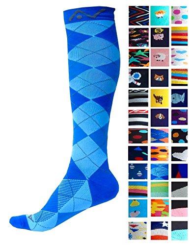 A-Swift Kompressions-Socken, Verlaufsfilter, sportliche Passform, für Laufsport/Krankenschwestern/Flugreisen/Skifahren/Mutterschaft/Schwangerschaft/Krampfadern/ für mehr Ausdauer und eine schnelle Erholung, 1 Paar, Blue Argyle, L-XL