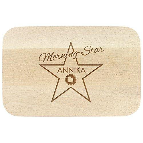 """Frühstücksbrettchen aus Holz mit Gravur """" Morning Star ...""""- ca. 23 x 15 x 1 cm - PERSONALISIERT mit [ NAMEN ] - Brettchen aus Holz mit Namen und Sprüchen …"""