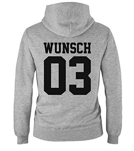 Comedy Shirts - Wunsch - Kinder Hoodie - Grau/Schwarz Gr. 98/104