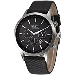 Tonsee NORTH Sports Luxury Mens Leather Band Analog Quartz Watches Wrist Watch