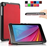 Infiland Huawei MediaPad T1-701W Funda Case-Ultra Delgada Tri-Fold Case Cover PU Cuero Cascara con Soporte para Huawei MediaPad T1-701W 8GB (7.0 pulgadas) Tablet-PC