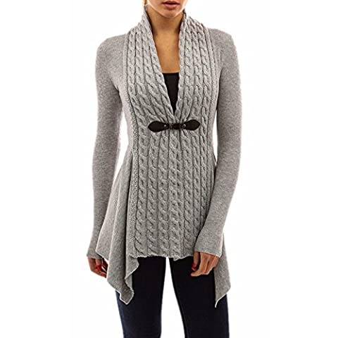 Jimmkey Women Long Sleeve Sweater Casual Knitted Cardigan Outwear (S, Gray)