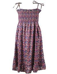 Tie Shoulder Elasticated Bodice Floral Print Cotton Dress. Sizes 6-16