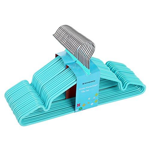 SONGMICS Kinder-Kleiderbügel aus Metall, 20 Stück - mit Beschichtung aus Kunststoff, mit Steg, mit Kerben - rutschfest / platzsparend / für Kleidung von Kindern von 6 Monaten bis 6 Jahren, 30 cm Blau CRI30Q-20