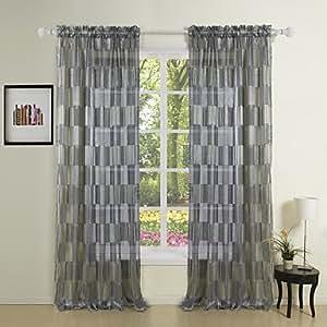 EY rideaux (2 planches) newyork mode rideau transparent noir