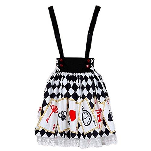 Lolita Kleid Hat Casual Süß Print Top und Spaghetti - Rock für Mädchen(S,Only Skirt) (18 Findet Tops)